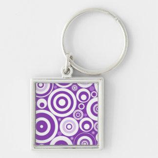 Funky Retro Purple Circles Key Chain