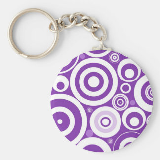 Funky Retro Purple Circles Keychain