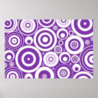 Funky Retro Purple Circles Poster