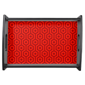 Funky Retro Red Hexagonal Geometric Pattern Serving Tray
