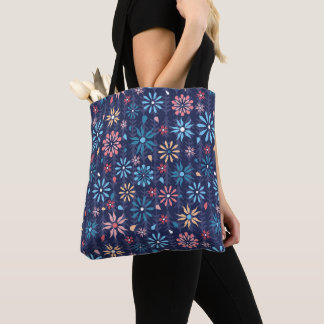 Funky retro scattered flowers tote bag