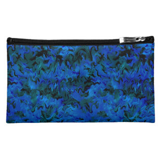 Funky Retro Style Abstract Charcoal Sapphire Blue Makeup Bags