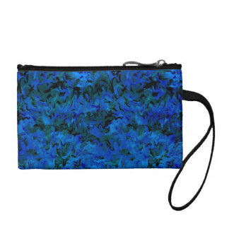 Funky Retro Style Abstract Charcoal Sapphire Blue Coin Wallet
