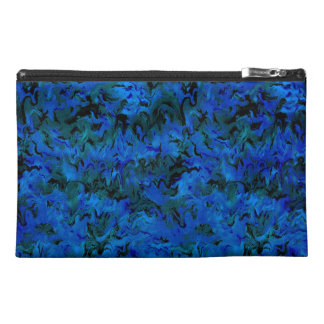 Funky Retro Style Abstract Charcoal Sapphire Blue Travel Accessory Bags