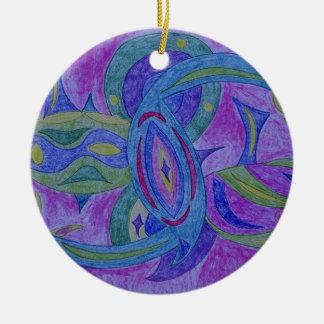 Funky, retro zentangle design ornament