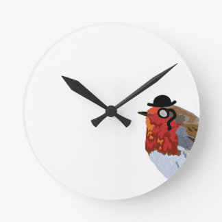 Funky robin with a monocle round clock