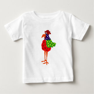 Funky Rooster Folk Art Design Baby T-Shirt