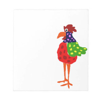 Funky Rooster Folk Art Design Notepad