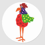 Funky Rooster Folk Art Design Round Stickers