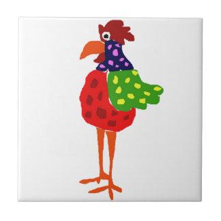 Funky Rooster Folk Art Design Tile