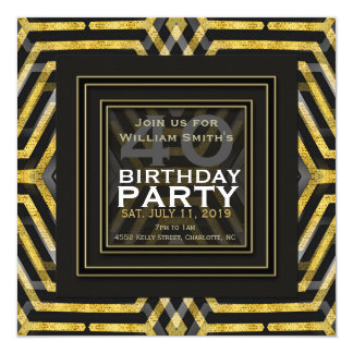 Funky Scifi Black Gold Geometry 40th Birthday 13 Cm X 13 Cm Square Invitation Card