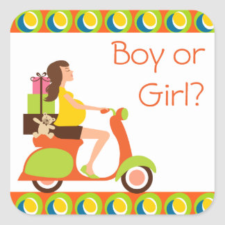 Funky Scooter Mom To Be Gender Reveal Party Square Sticker