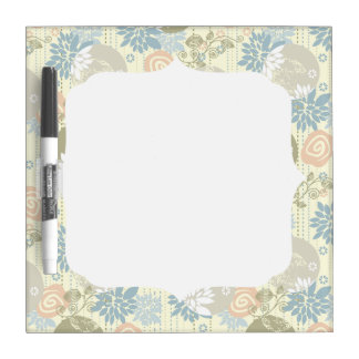 Funky Screen Print Flowers in Pastel Colors Dry-Erase Whiteboard