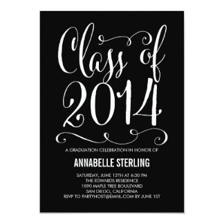 "Funky Script Graduation Invitation - Any Color 5"" X 7"" Invitation Card"