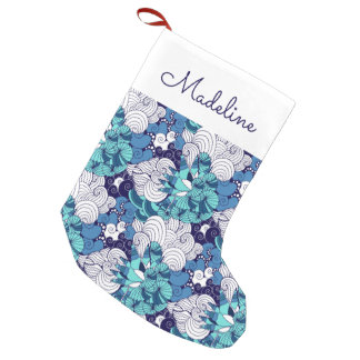 Funky Seashell Pattern | Add Your Name Small Christmas Stocking