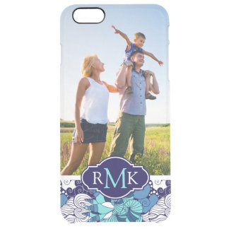 Funky Seashell Pattern| Your Photo & Monogram Clear iPhone 6 Plus Case
