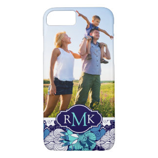 Funky Seashell Pattern| Your Photo & Monogram iPhone 8/7 Case