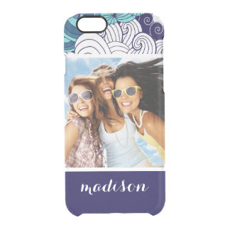 Funky Seashell Pattern | Your Photo & Name Clear iPhone 6/6S Case
