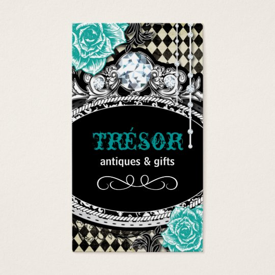 Funky Shabby Chic Argyle Business Cards