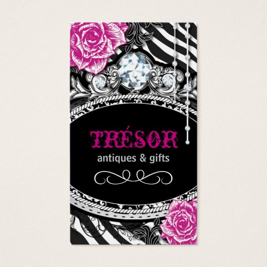 Funky Shabby Chic Zebra Stripes Business Cards