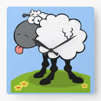 funky sheep sticking out tongue clock