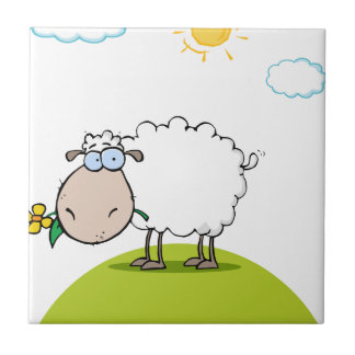 Funky Sheep With Flower In Mouth Small Square Tile