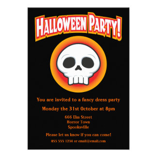Funky Skull Halloween Invitation