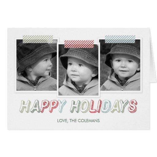 Funky Snapshots Holiday Photo Card Card