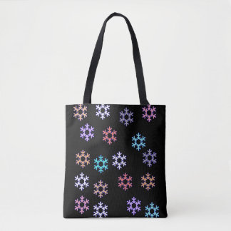 Funky Snowflakes All Over Print Tote Bag