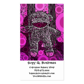 Funky Sock Monkey Circles Bubbles Pop Art Business Cards