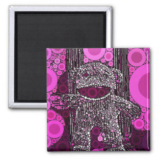 Funky Sock Monkey Circles Bubbles Pop Art Square Magnet