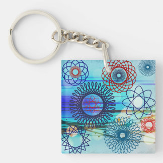 Funky Spirograph Geometric Pattern Blue Design Double-Sided Square Acrylic Key Ring