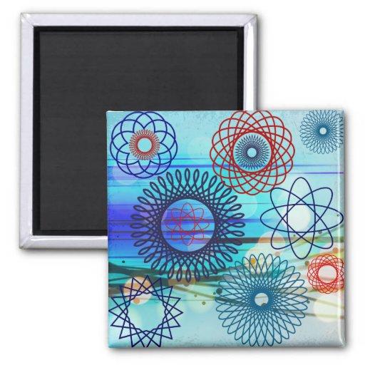 Funky Spirograph Geometric Pattern Blue Design Fridge Magnets