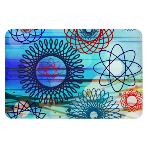 Funky Spirograph Geometric Pattern Blue Design Rectangle Magnets