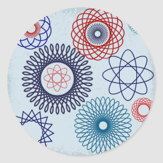 Funky Spirograph Geometric Pattern Blue Red Classic Round Sticker