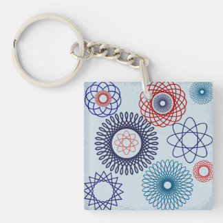 Funky Spirograph Geometric Pattern Blue Red Double-Sided Square Acrylic Key Ring