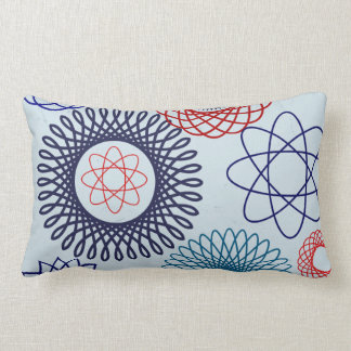 Funky Spirograph Geometric Pattern Blue Red Lumbar Cushion