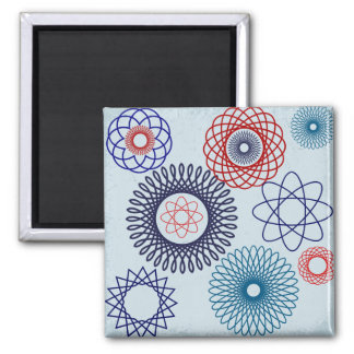 Funky Spirograph Geometric Pattern Blue Red Refrigerator Magnets