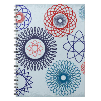 Funky Spirograph Geometric Pattern Blue Red Notebook