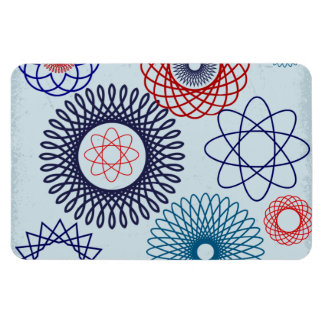 Funky Spirograph Geometric Pattern Blue Red Rectangular Magnets