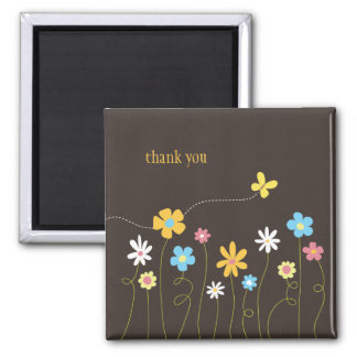Funky Spring Flowers Thank You Magnet