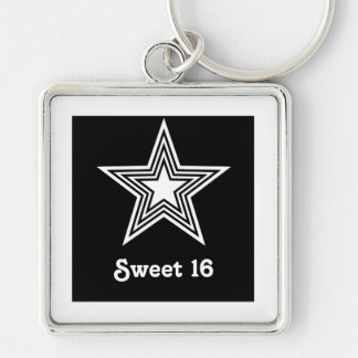 Funky Star Sweet 16 Keychain Black and White