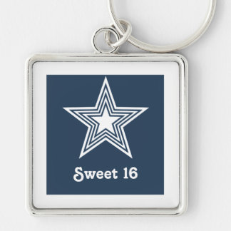 Funky Star Sweet 16 Keychain Dark Blue
