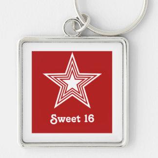 Funky Star Sweet 16 Keychain Dark Red