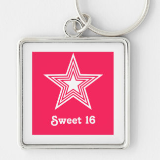 Funky Star Sweet 16 Keychain Hot Pink