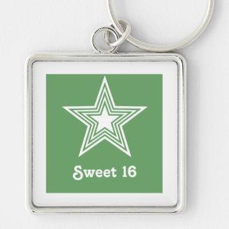 Funky Star Sweet 16 Keychain Kelly Green