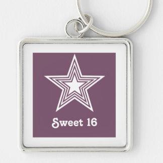 Funky Star Sweet 16 Keychain Purple