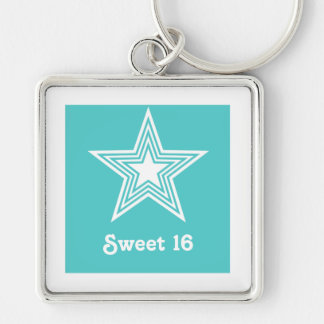 Funky Star Sweet 16 Keychain Turquoise