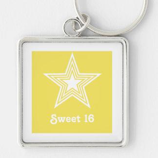 Funky Star Sweet 16 Keychain Yellow