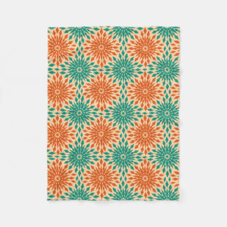 Funky Starburt Teal & Orange Design Fleece Blanket